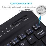 Ultra-mince Sans Fil Bluetooth Clavier 7 pouces Ultrathin Mini 7 inch Clavier Compatibilité Bluetooth 3.0 Windows/Android/iOS Système pour iPad/iPhone/Mac/Apple/ Samsung/ Tablettes/HP/Tablet (Noir) de la marque FREALL image 4 produit